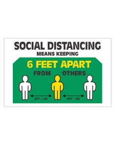 Social Distancing Means Keep 6 Feet Apart Business Signs