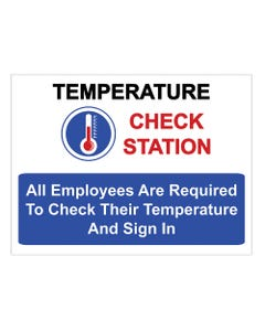 """Temperature Check Station - 18"""" x 24""""  Sign"""