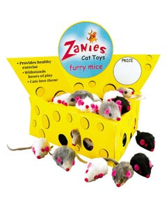 Zanies Cheese Wedge Cat Toy Display, 60 Fur Mice