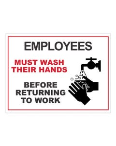 18x24 Employees Must Wash Hands Sign