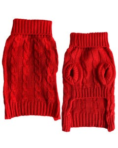 Casual Canine Red Cable Knit Sweater