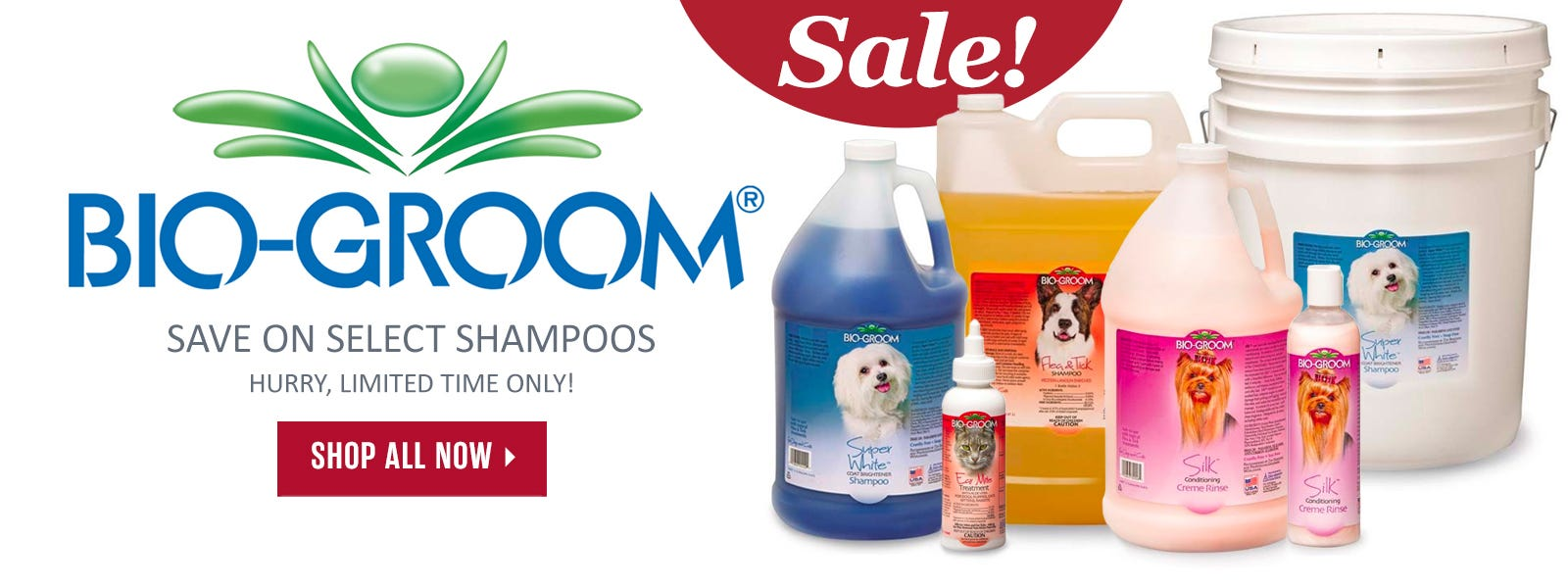 Select Bio-Groom shampoos on sale for a limited time!